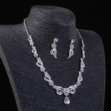 Luxurious Crystal Cute Sweet Necklace Earrings Bridal Jewelry Sets Imitation Gemstone