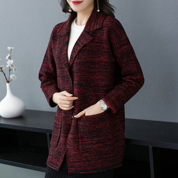 Women Autumn Knitted Cardigan Sweater Red Black Notched Collar Design Side Pocket Soft Outerwear Female Casual Coat Knitwear NEW black side pockets sleeveless outerwear