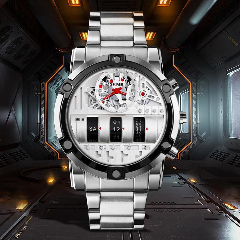 New Luxury Silver Color Men Digital Watch Stainless Steel Male Clock 2 Time Calendar 30m Waterproof Men Watch Relogio Masculino