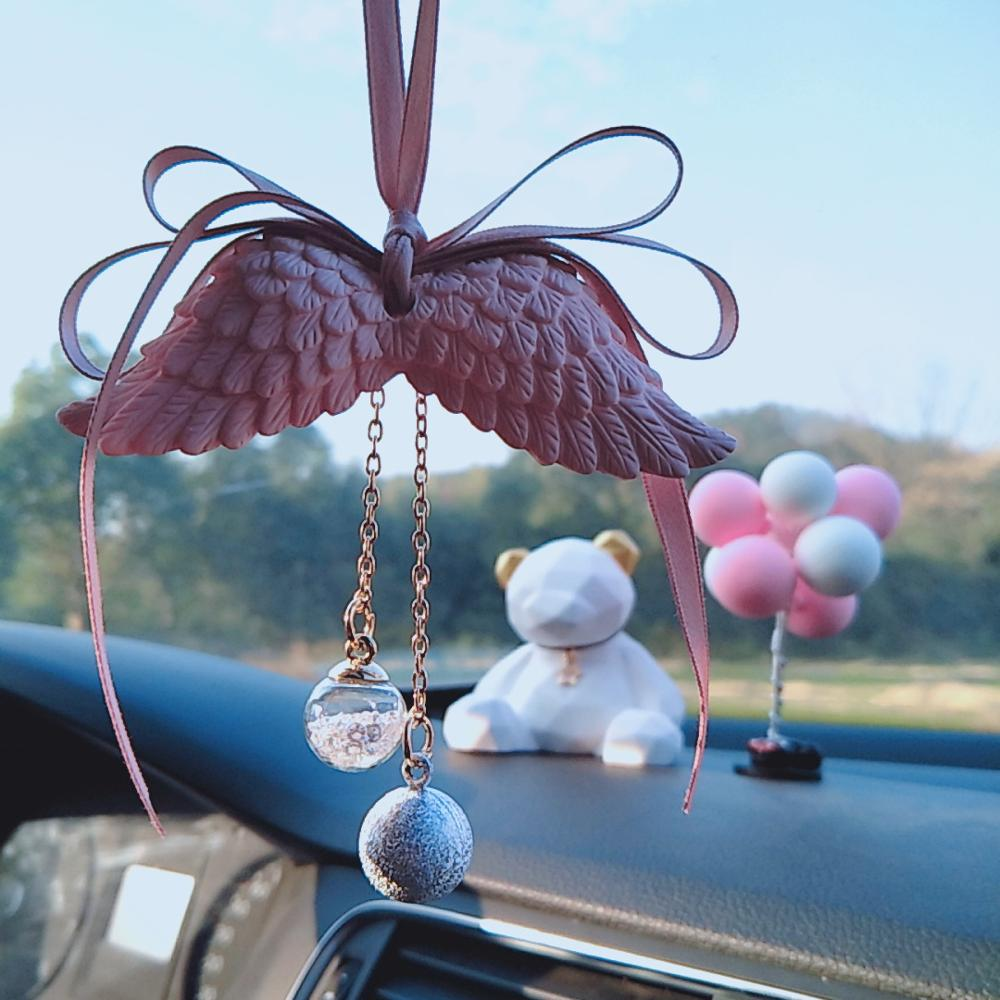 Image 2 - Car Pendant Angel Wing Aromatherapy Car Rearview Mirror Pendant Angel Wings Water Tone Bell Pink Girl Heart CAR028-in Ornaments from Automobiles & Motorcycles