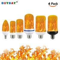 Bombilla Led con efecto de llama 4 modos de emulación parpadeante hogar Decoración de jardín lámpara Led E27 E26 E14 E12 bombilla de llama con efecto inverso