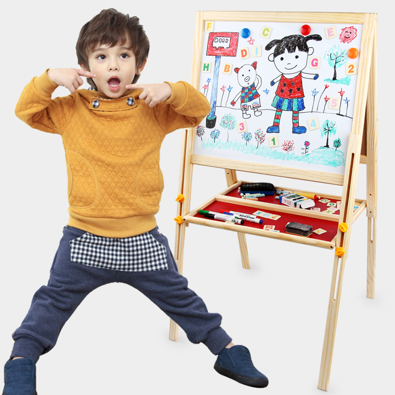 Children Magnetic Wooden Drawing Board Folding Adjustable Holder Painted Trace Elements Blackboard Double-Sided Magnetic White-b