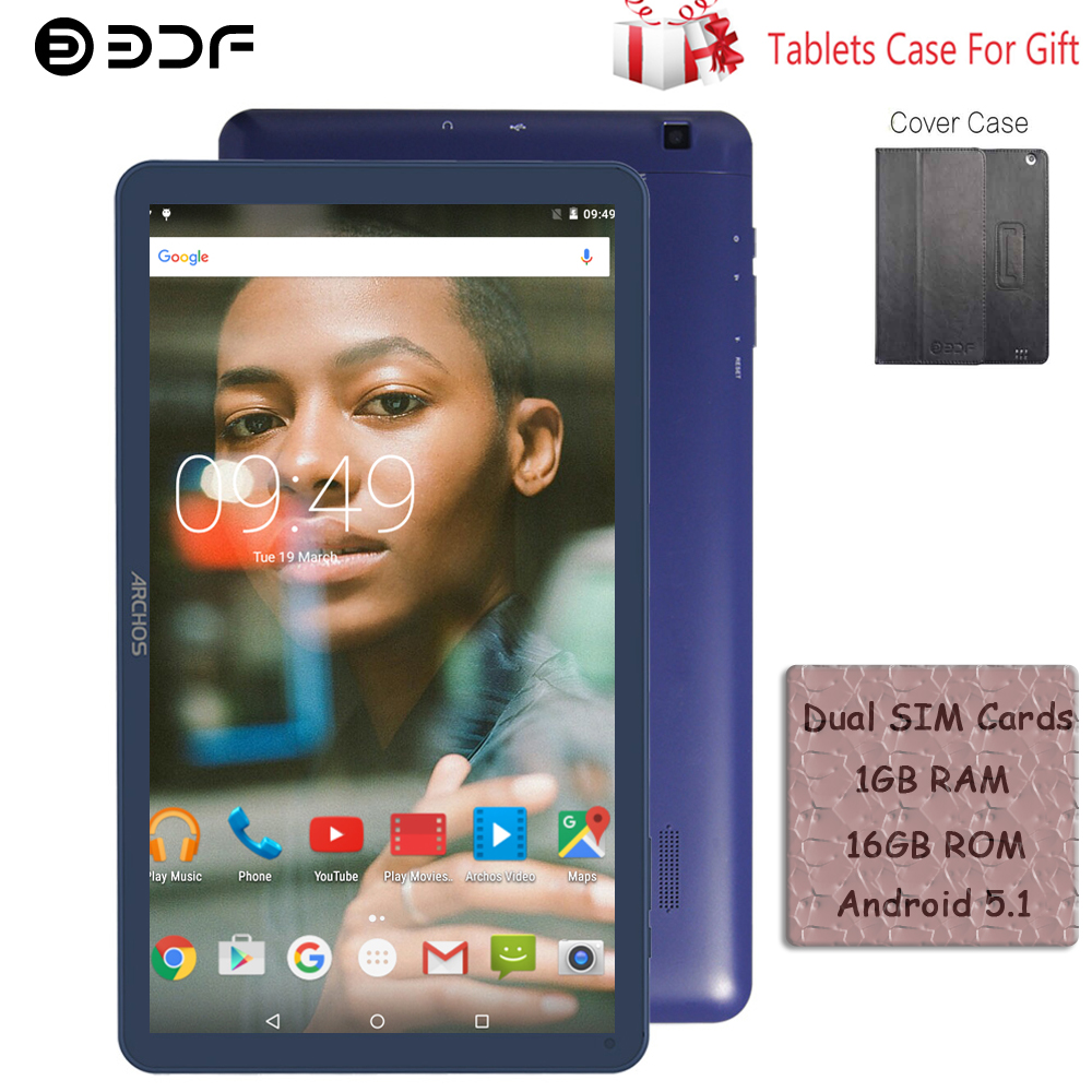 Free Leather Cover BDF 10 Inch Android 5.1 Tablet Pc 1GB/16GB Quad Core Bluetooth WiFi Tablet 3G Phone Call Android Tablets 10.1