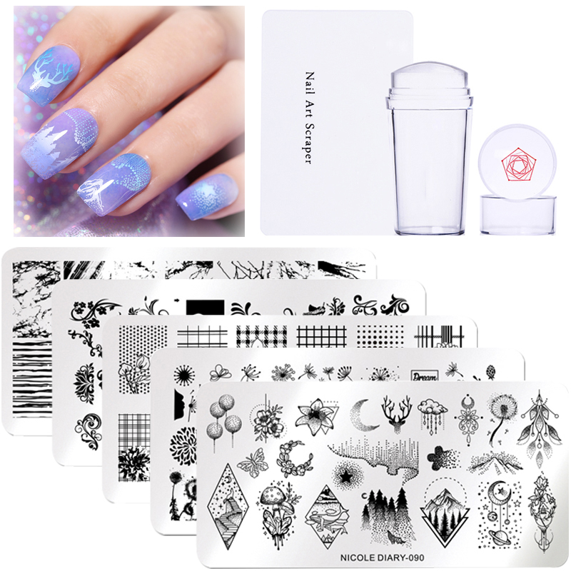 NICOLE DIARY 3pcs/set Nail Stamping Plate Stamper Scraper Geometric Coconut Flower Images Stamp Template Manicure Art Stencil-in Nail Art Templates from Beauty & Health