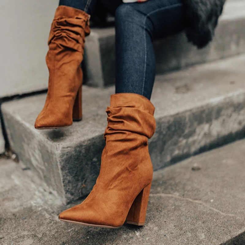Vertvie Kış yarım çizmeler Kadın Ince Streç Sivri Burun Çorap Kare Yüksek Topuk Çizmeler Ayakkabı Kadın Moda Bota Feminina