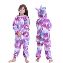 kigurumi New Flannel baby girl pyjama set cosplay Hooded christmas pijama infantil kids boys sleepwear 4-12 Year