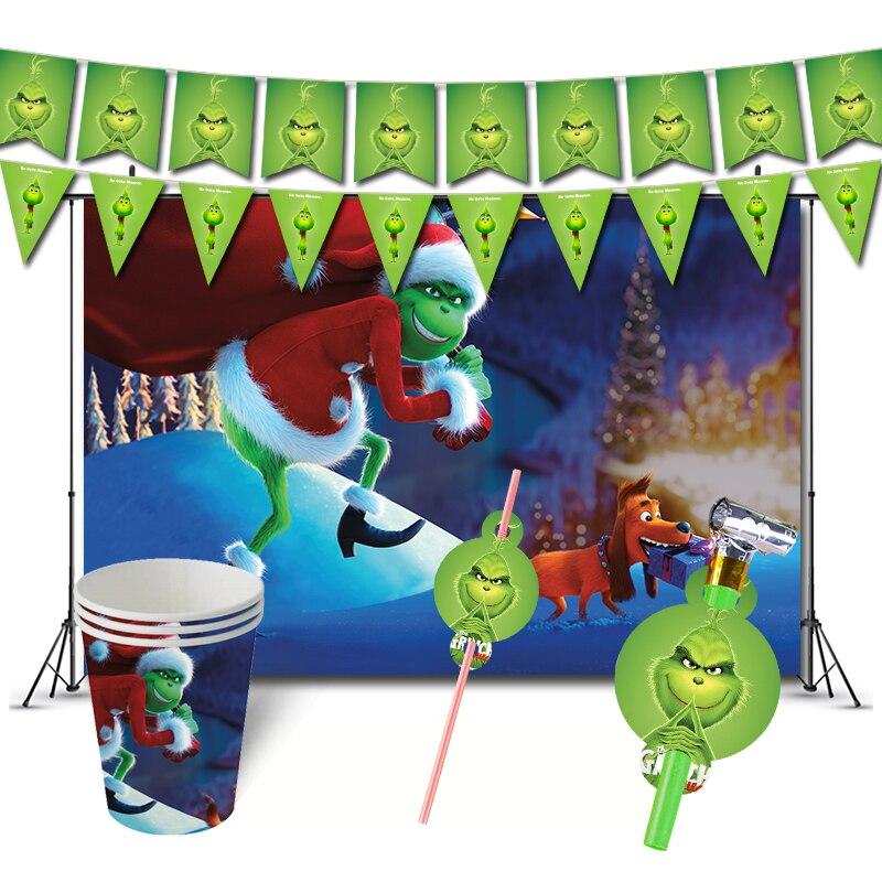 Grinch День Рождения украшения Игра как украли Рождественская тема сувениры Supplys баннер чашки соломинки