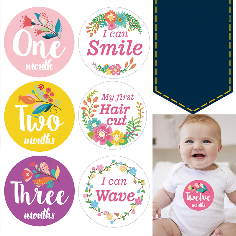12Pcs/set DIY Baby Photography Milestone Flower Newborn Monthly Milestone Stickers 1-12 Months Growth Photo Props Accessories