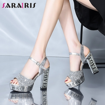 SARAIRIS Ladies Summer Party Bling Glitters Sandals Sweet Print Platform Sandals Women Fashion Dating High Heels Shoes Woman