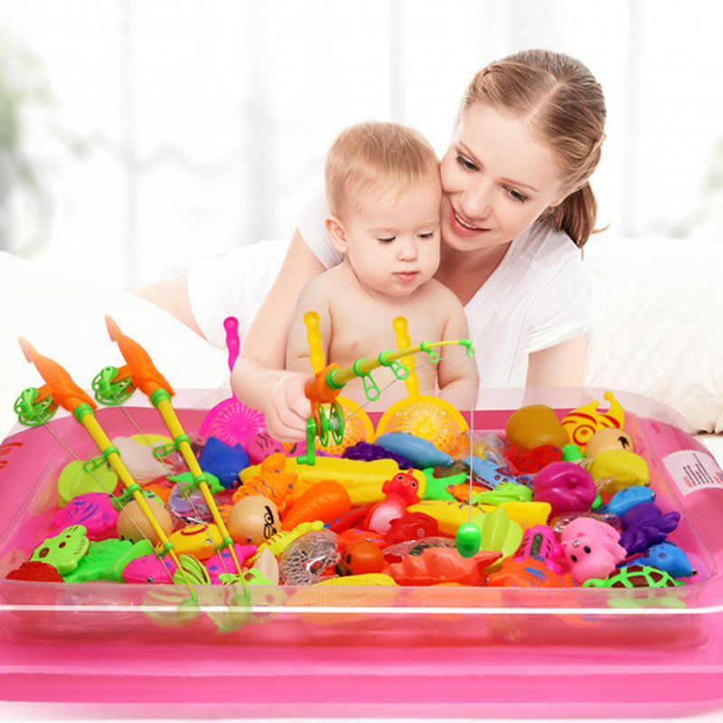 26Pcs/Set Magnetic Fishing Parent-child interactive Toys Game Kids 1 Rod 1 net 24Pcs 3D Fish Baby Bath Toys outdor toys
