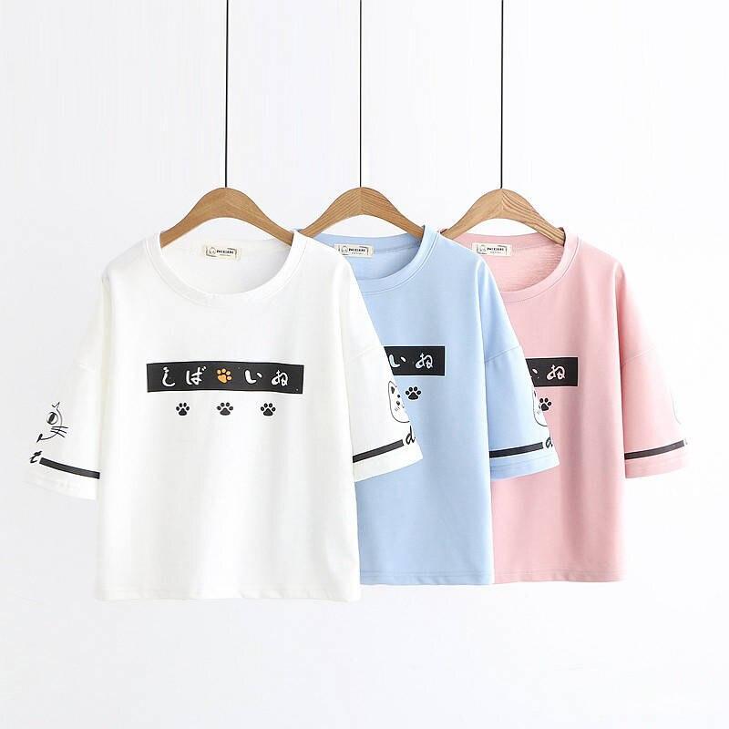 New Harajuku Japanese women's short-sleeved T-shirt female summer Korean version of the loose cute cat student bf Harajuku style