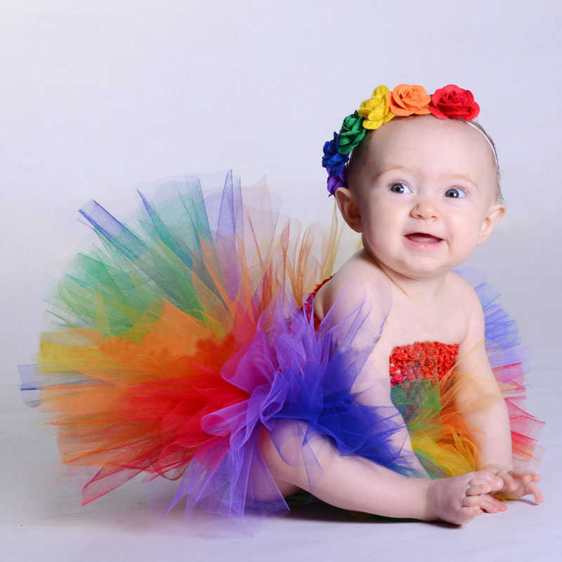 Newborn Princess Dress Infant Baby Girl Mesh Tulle Rainbow Tutu Floral Party