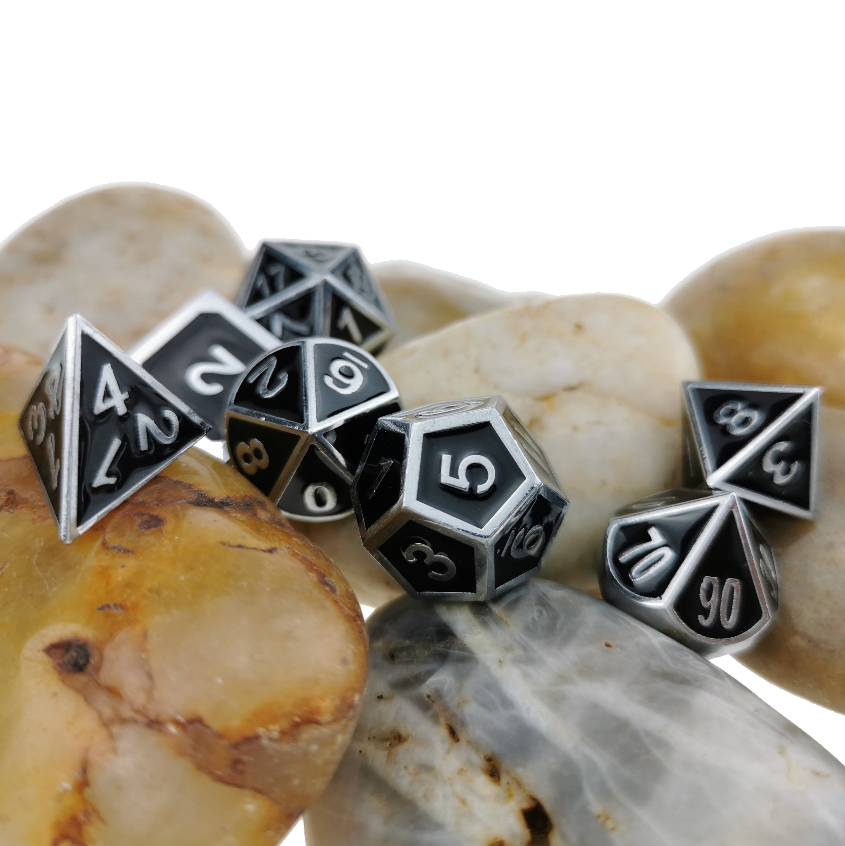 Rollooo Classic Metal With Enamel Standard 7-Die Set D&D Dice For DND Roleplaying Games D4 D6 D8 D10 D12 D20 & D%