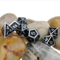 Rollooo-Juego de 7 troqueles de Metal clásico con esmalte, dados D & D para juegos de roleplay DND D4 D6 D8 D10 D12 D20 & D %