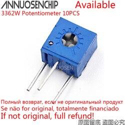 10 pces 3362w potenciômetro de precisão ajustável 100 200 500 r ohm 1k 2k 5k 10 20k 50k 100k 200k 500k 1m 3362 trimpo trimpo aparador