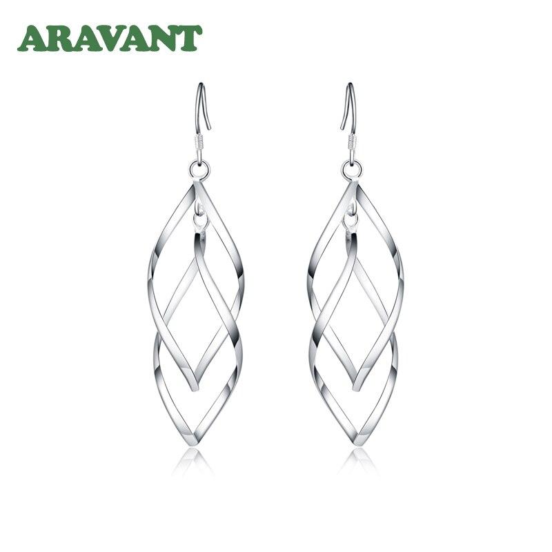 2020 New 925 Silver Earrings For Women Double Twist Wedding Dangle Earring Fashion Jewelry