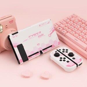 Image 2 - Carcasa protectora rígida para Nintendo Switch, carcasa protectora trasera, color rosa, blanco mate, para NS Joy con