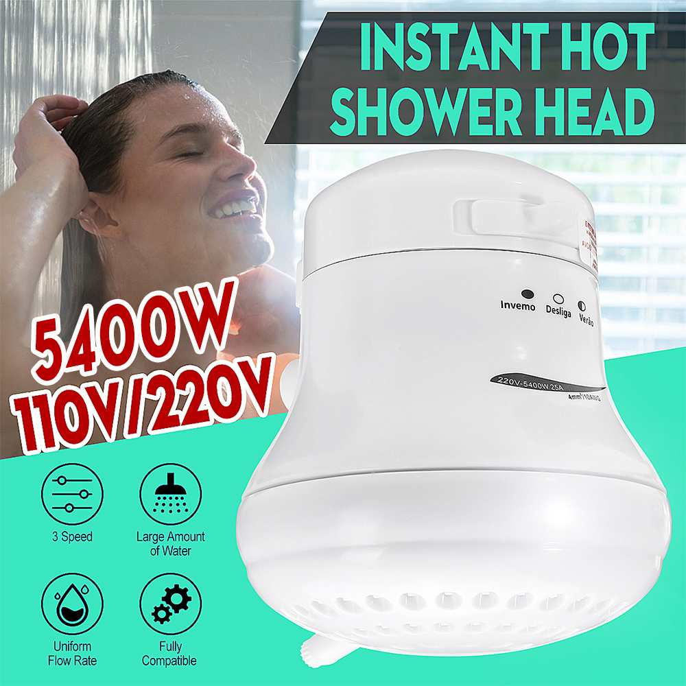 5400W Electric Heaters With Shower Head 3 Temp Control Instant  Electric Water Heating +Bracket For Bathroom 110V/220V