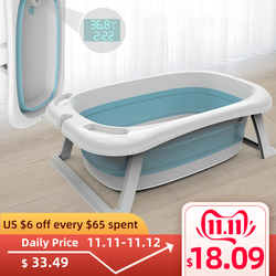 Folding Bathtub Children Lying Electronic Temperature Universal Bath Barrel Oversize Baby Newborn Supplies Baby Bath Tub