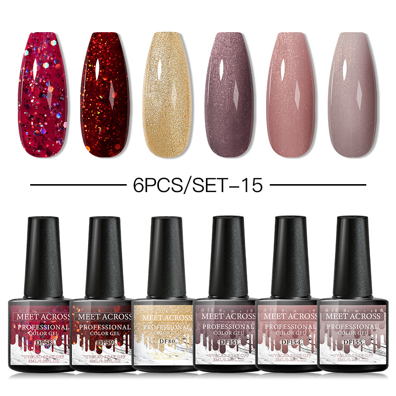 MEET ACROSS 6pcs/set Color Gel Nail Polish Set 8ml Semi Permanent UV Led Gel Varnish Soak Off Nail Lacquers Base Top Coat