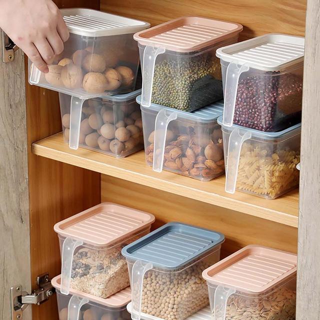 5/1PCS Kitchen Transparent Storage Box Sealed Jar Grains Beans Storage Organizer Food Containers Refrigerator Storage Boxes