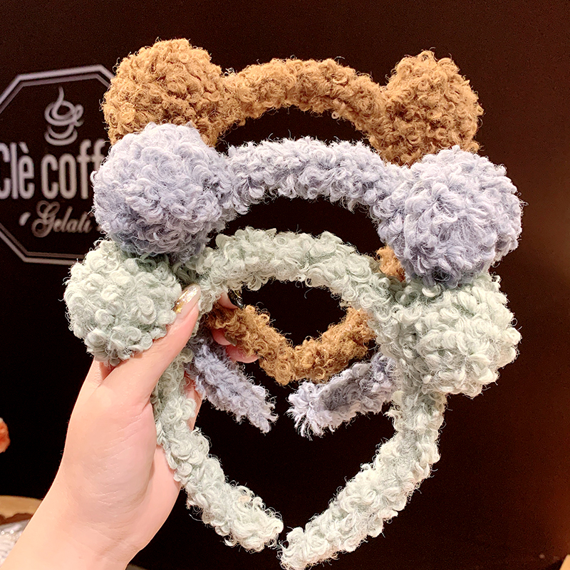 New Women Girls Cute Colorful Bear Ears Lambswool Hairbands Sweet Hair Ornament Lovely Selfie Headband Fashion Hair Accessories