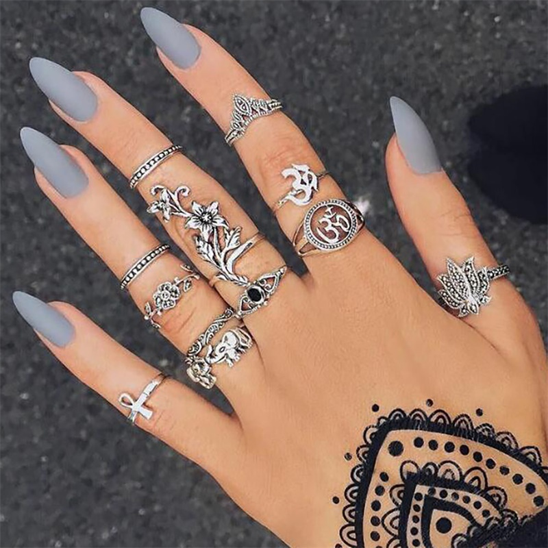 VOVA Women Bohemian Vintage Crown Wave Flower Heart Lotus Star Ring Leaf Crystal Joint Ring Party Jewelry Silver Rings Set
