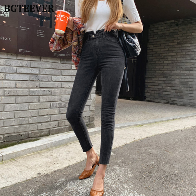 2019 Black High Waist Denim Jeans Women Button Fly Plus Size Jeans For Women Stretch Jeans Female Skinny Denim Pencil Pants