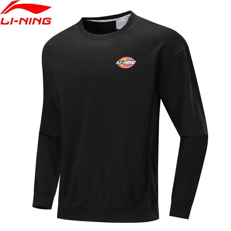 Li-Ning Men The Trend Sweater Retro Printing Loose Fit 100% Cotton Long Sleeve LiNing Comfort Sports Hoodie AWDP423 MWW1612