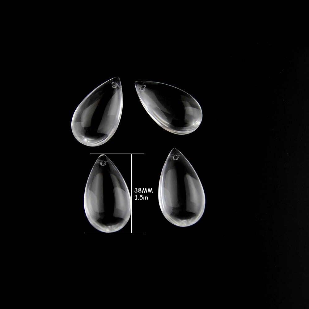 38 Mm 50 Mm 63 Mm Halus Gantung Air Drop Liontin Kristal Lampu Prisma Lampu Gantung Bagian Kaca Tetesan untuk Pernikahan dekorasi