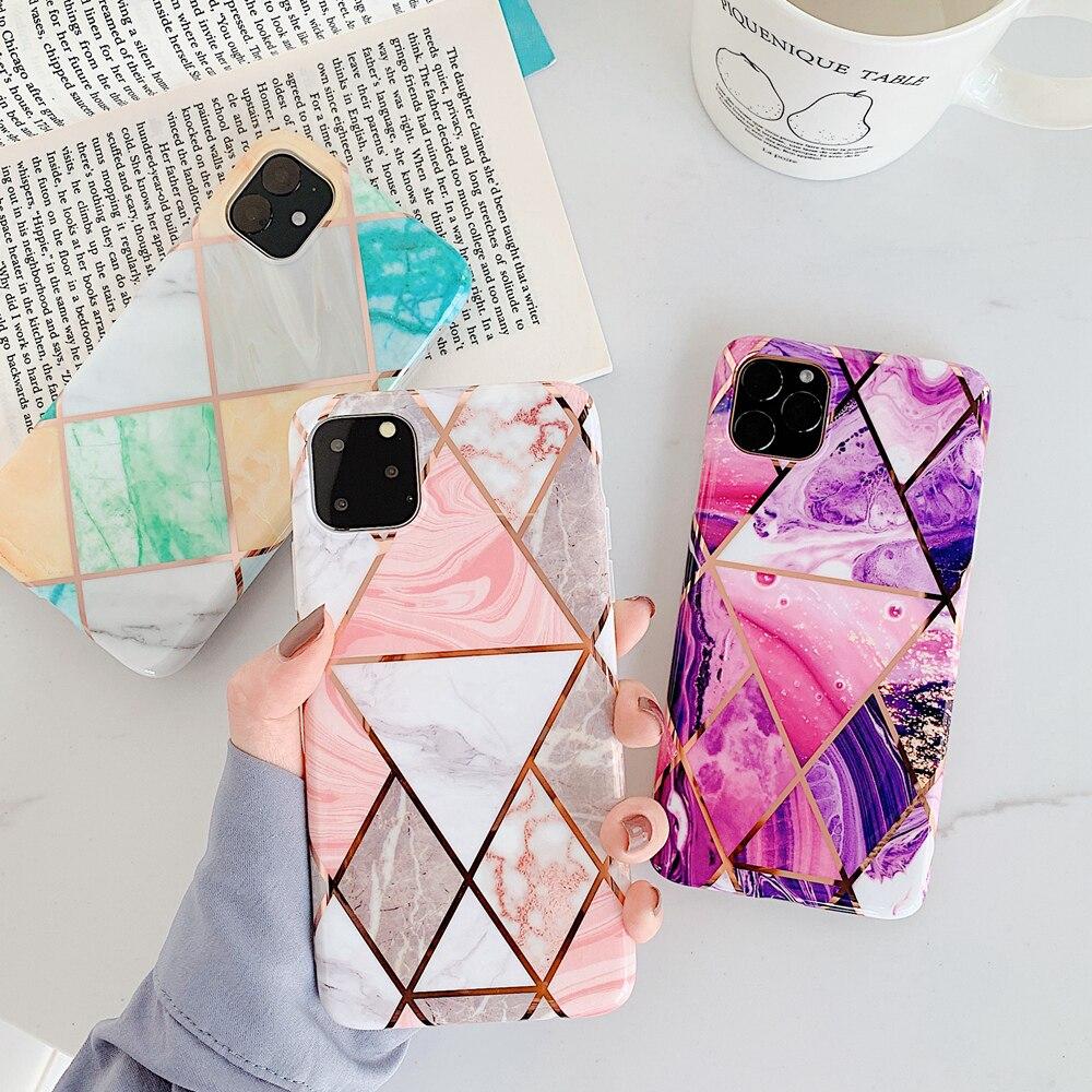 Geometriskt marmor telefonfodral för iPhone SE 2 X XR XS Max - Reservdelar och tillbehör för mobiltelefoner - Foto 2
