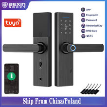 Tuya Smart Door Lock WiFi Fingerprint Password IC Card Lock, APP Remotely Fechadura Digital Lock
