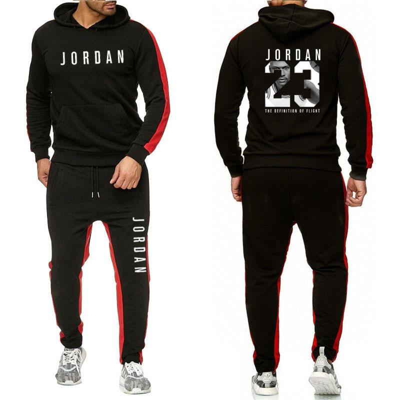 מותג בגדי גברים של אופנה אימונית מזדמן Sportsuit גברים נים חולצות ספורט ירדן 23 מעיל + מכנסיים גברים סט