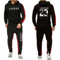 Ropa de marca de moda Chándal para hombres traje deportivo Casual sudaderas con capucha para hombres ropa deportiva JORDAN 23 abrigo + pantalón conjunto de hombres