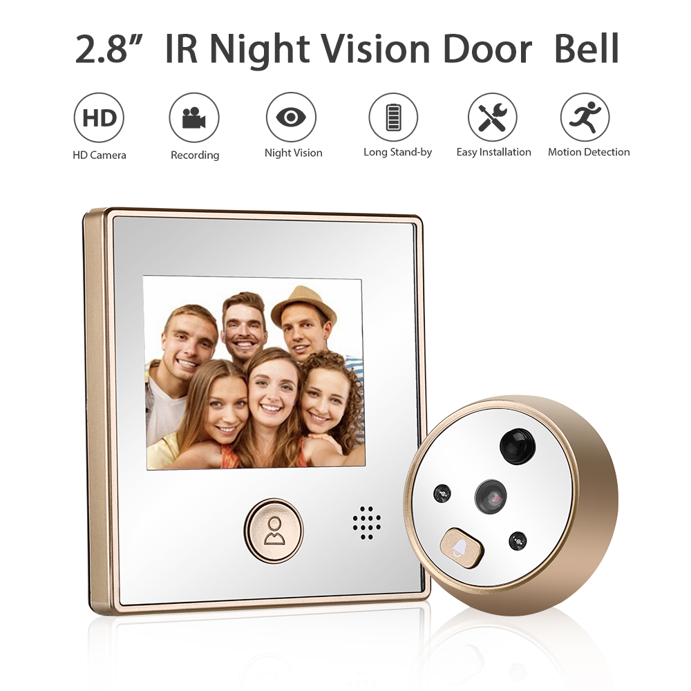 2.8 Inches Visual Doorbell Camera IR Night Vision Motion Detection Peep Hole Camera Intercom Door Bell