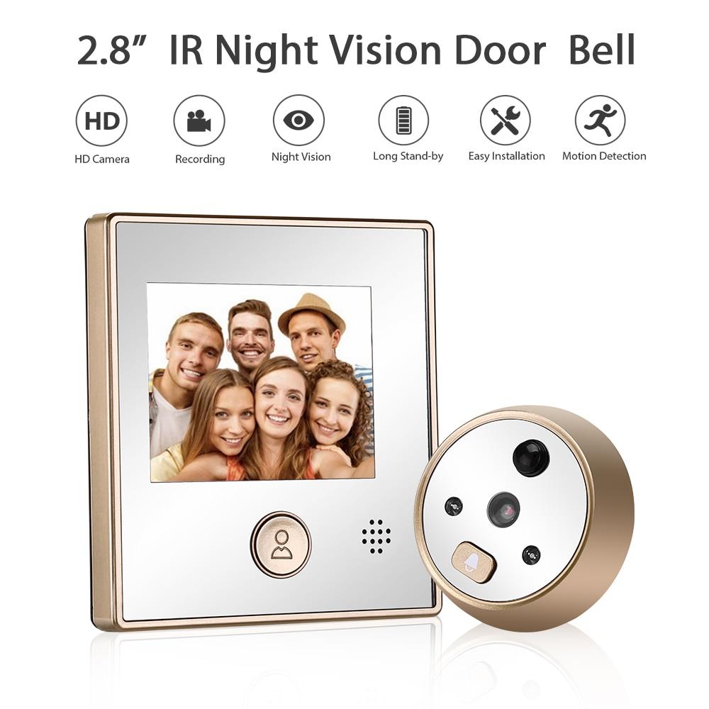 2.8 Inches Visual Doorbell Camera IR Night Vision Motion Detection Peep Hole Camera Intercom Door Bell
