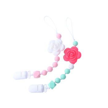 1Pcs Baby Pacifier Nipple Clip Bisphenol BPA Free flower Silicone Chain Nursing Pacifier Holder Baby Feeding Gift фото