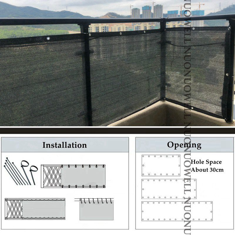 80x180/270/360cm Charcoal Gray Sunshade Net Home Terrace Balcony Privacy Safety Fence Net Beautiful Camping Yard Sail Awnings