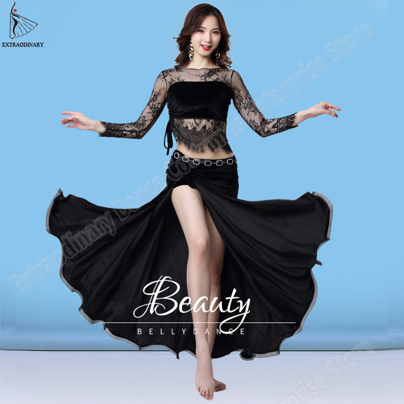 New Fashion Women Sexy Practice Clothes Belly Dance Costume Set Long Sleeves Lace Top Long Skirt 2 Pieces 5 Colour