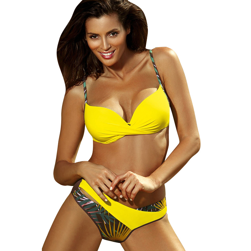 2020 nouveau Sexy Push Up Bikinis ensemble maillots de bain femmes maillots de bain maillot de bain femmes licou biquini feuille imprimer plage porter Bikini