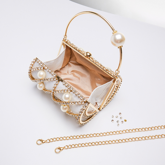Hollow Out Diamonds Small Barrel Shaped Metal Cage Evening Clutch 5