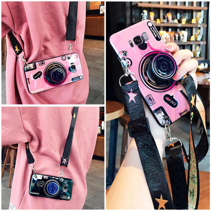 Dành Cho Samsung A10 A20E A30 A40 A50 A60 A70 S10 E S10lite J4 J6 J7 Plus 3D Camera Mềm TPU bao Da Ốp Lưng Coque Với Dây Buộc + Chân Đế