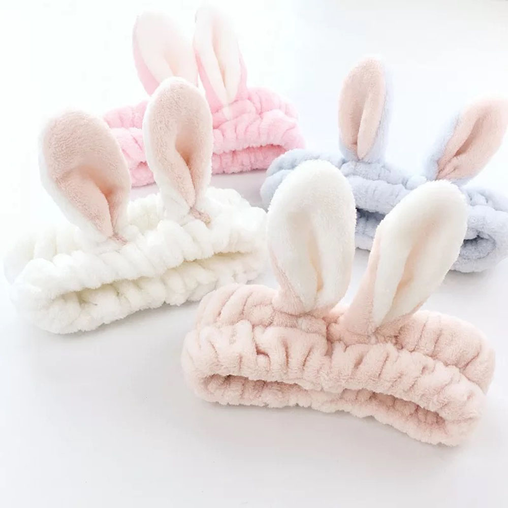 6 Colors Lovely Rabbit Ear Headband Women Girl Soft Cute Washing Makeup Headwear Hair Accessories