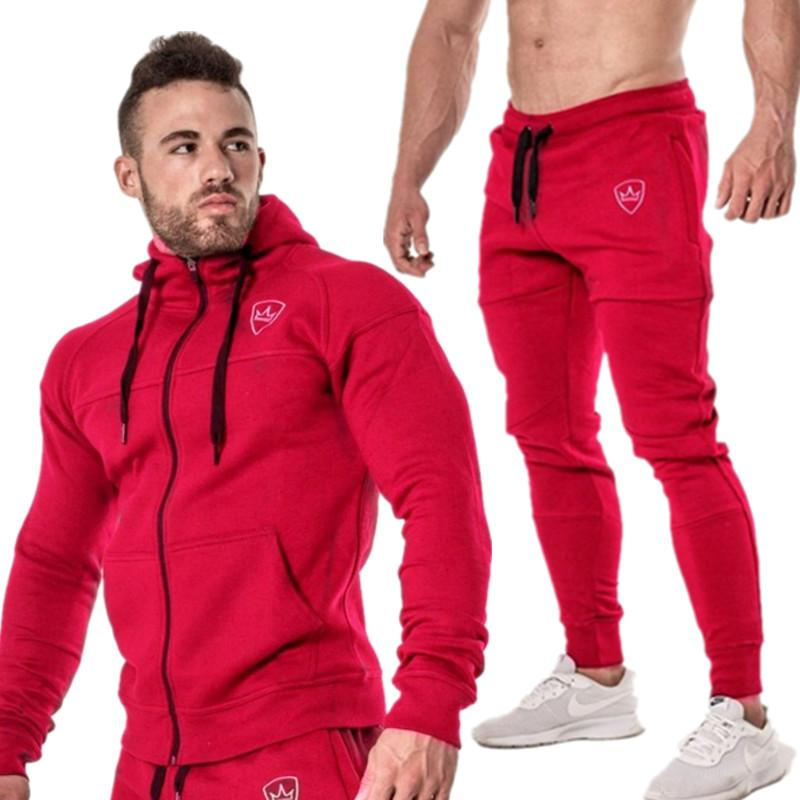 2019 Sping Running Set Long Sleeve Stand Collar Sweatshirt Sports Set Gym Clothes Men Sport Suit Training Suit Sport Wear