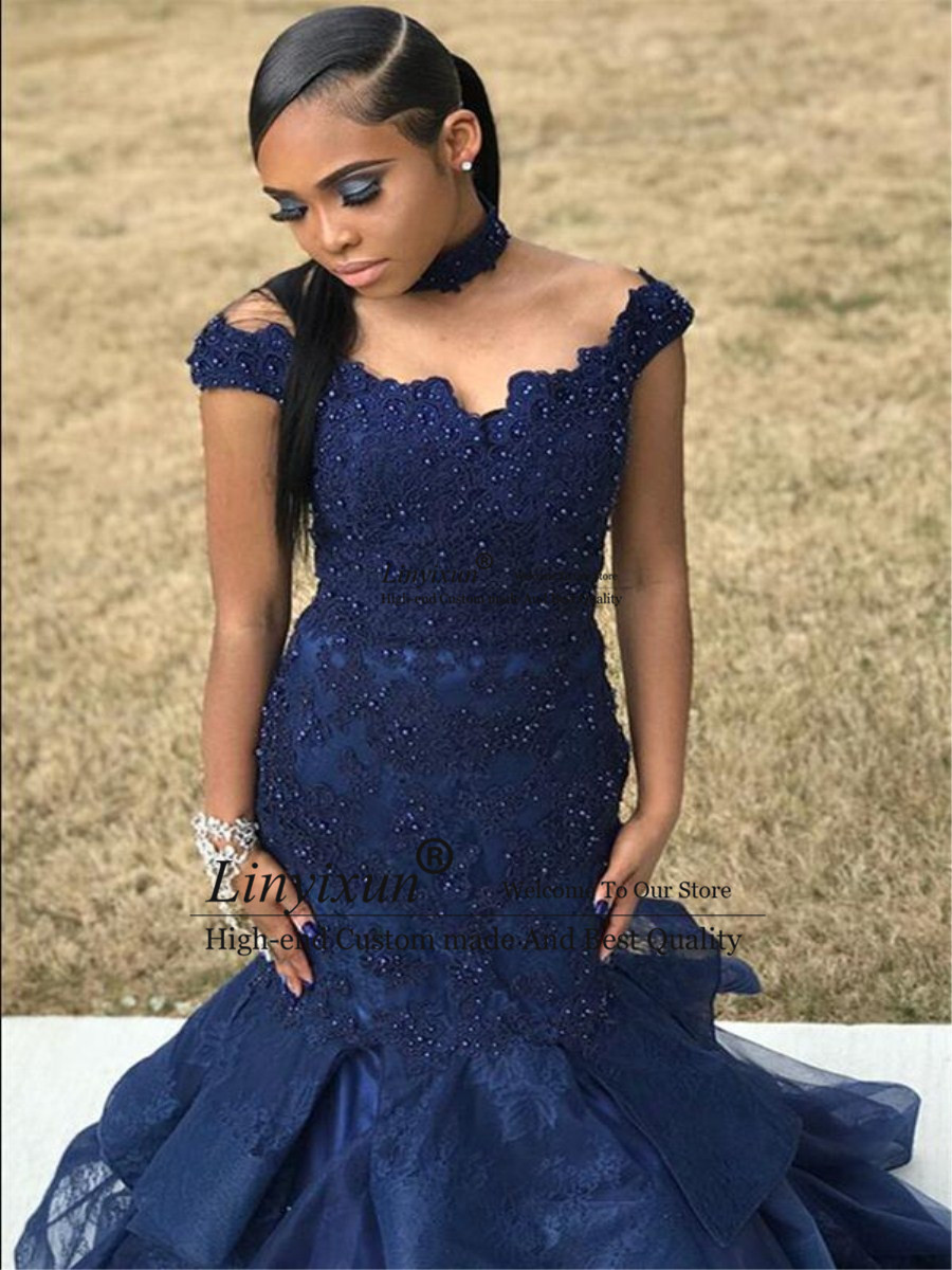 Navy Blue Off The Shoulder Mermaid   Prom     Dress   2019 Lace Appliques Beaded   Prom   Gown Floor Length Evening   Dresses   robe de soiree