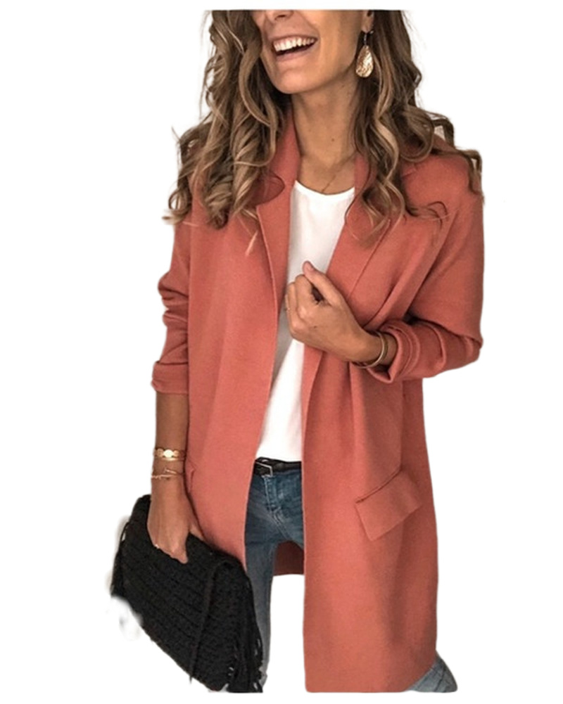 Autumn Winter Women Full Sleeves Casual Blazer Ladies Plus Size Outwears Long Blazer Jacket  Womens Blazer Casual Long