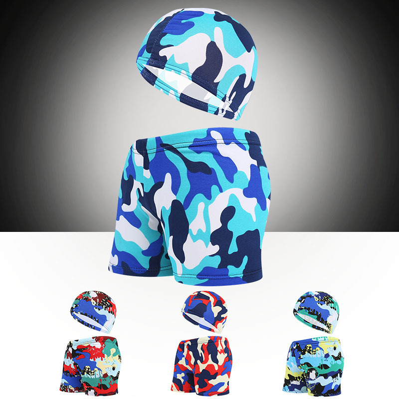 CHILDREN'S Swimming Trunks Hooded Boxer Cute Shorts Big Boy Men And Women Camouflage Swimming Trunks