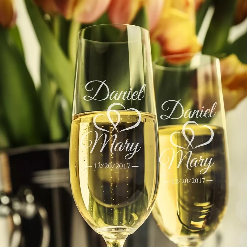 Image 4 - 2pc Wedding Glasses Personalized Champagne Flutes Crystalline Party Gift Toasting Glass Goblet Crystal Engrave Anniversary H1043-in Other Glass from Home & Garden