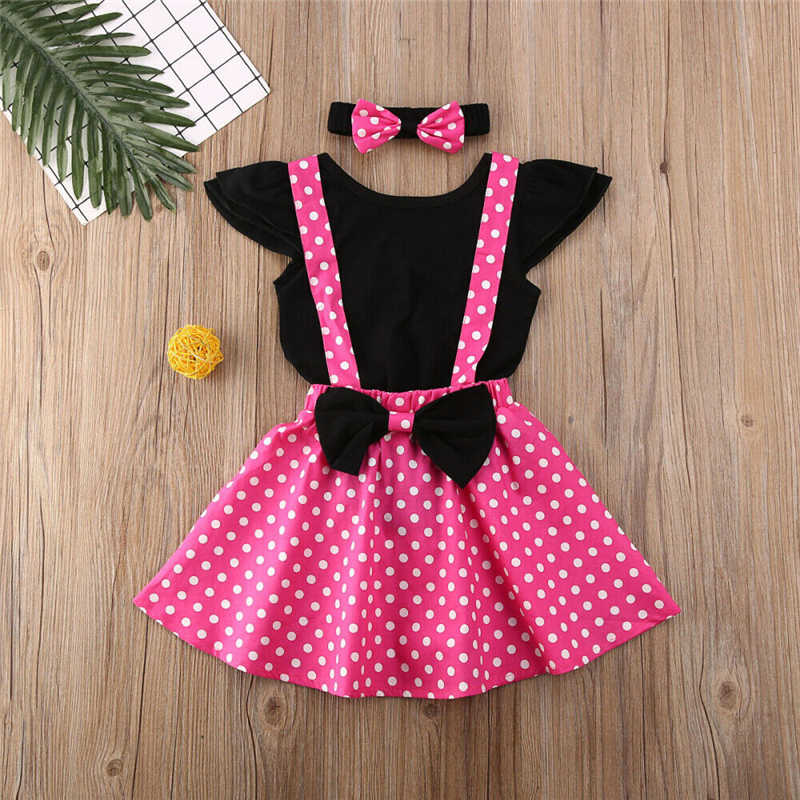 Toddler Baby Girl Minnie Clothes Sets Flying Sleeve Romper Tops +Strap Dress+Hairbow Outfits Cotton Dot Printed Costume