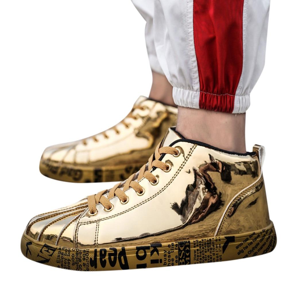 Chaussures décontractées respirantes hommes chaussures de mode Couples haut-haut en cuir laqué mode baskets chaussures crocs-shoes510